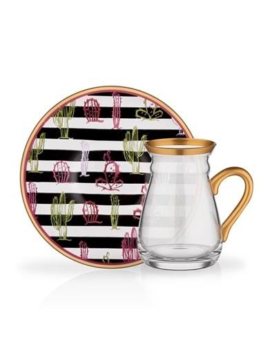 Glore Glore Nihavent Aline Kaktüs 6'Lı Kulplu Çay Seti Renkli